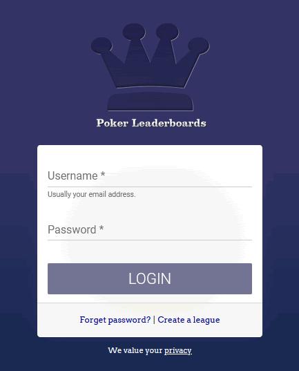 PokerLeaderboards Login Page