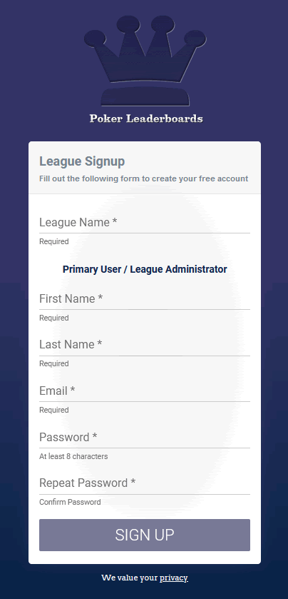PokerLeaderboards Signup Page
